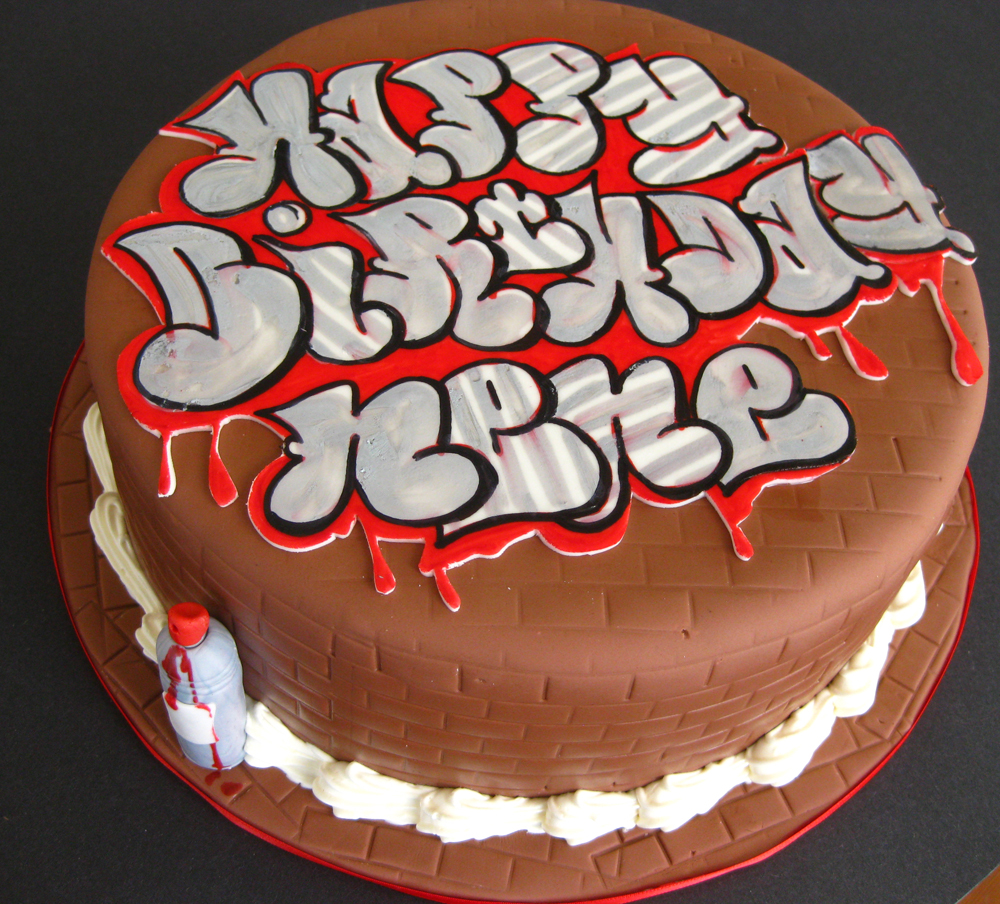 Graffiti cake med