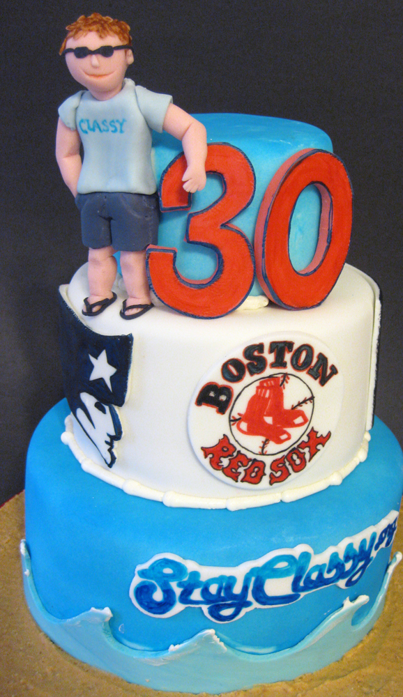 30th birthday Boston sports cake