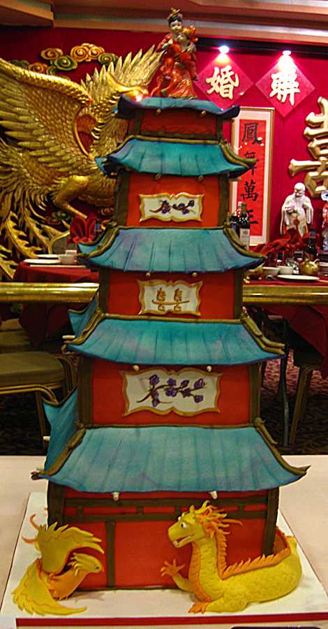 Sculpted Pagoda Wedding Cake