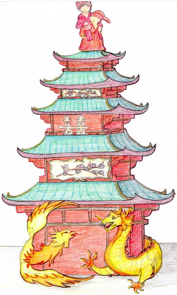Pagoda Cake Sketch by Amanda Oakleaf