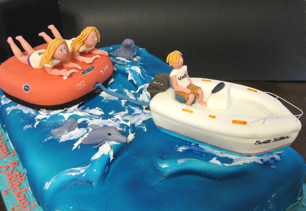 Sweet 16 Motorboat Sculpted Cake