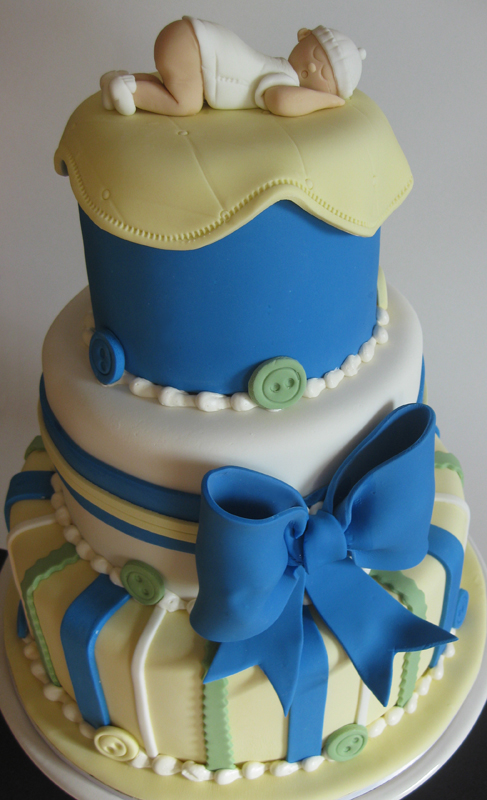 Buttons and Bows Baby Shower Cake Boy