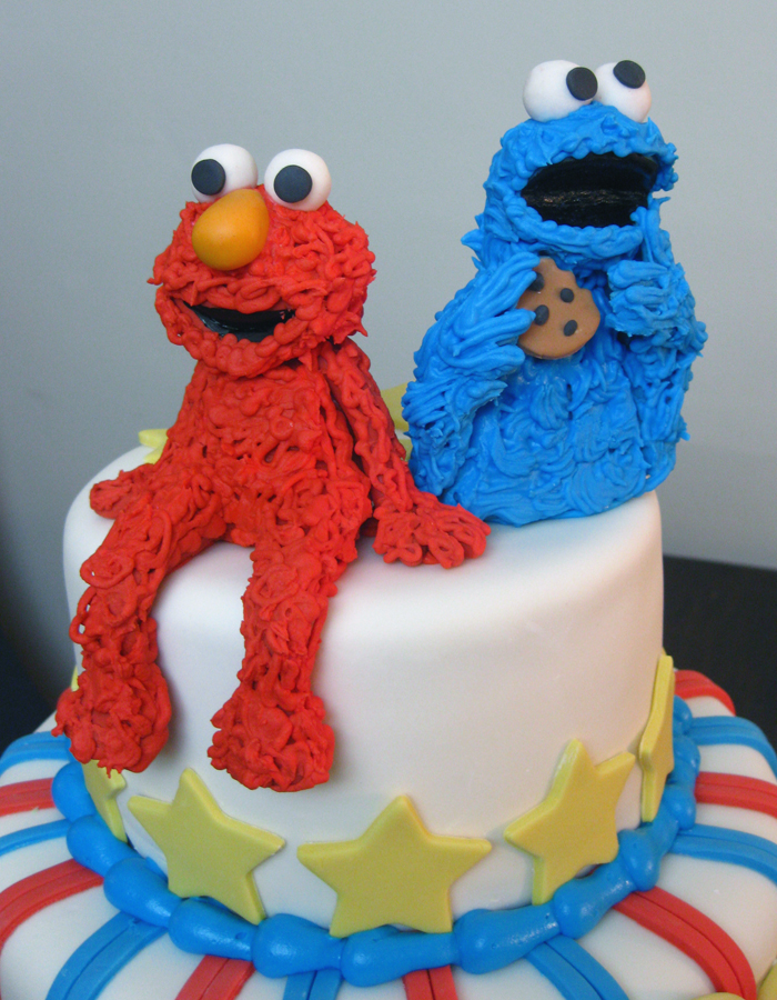 Elmo Cookie Monster Cake Figurines