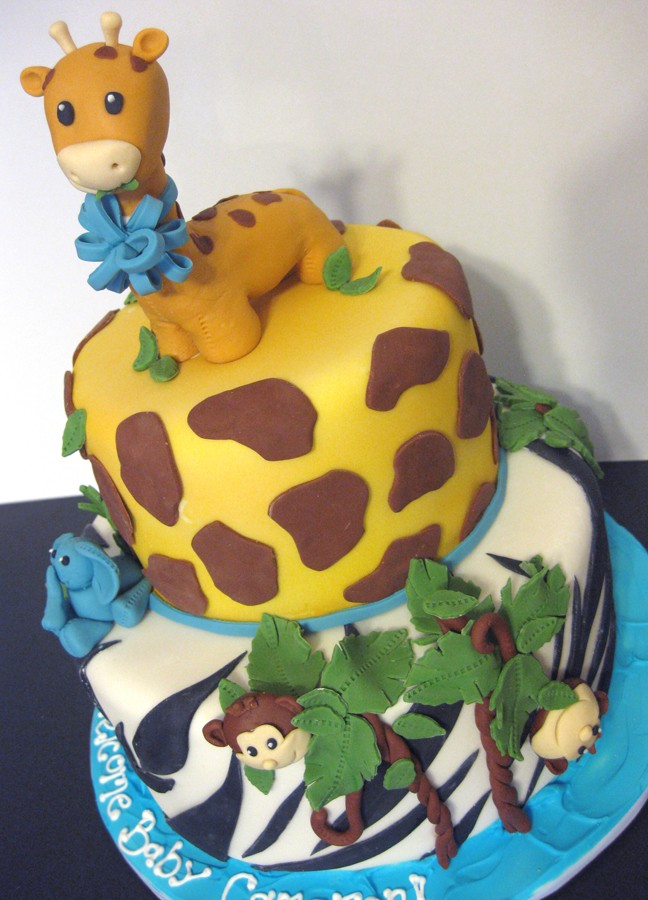 Baby shower cakes jungle baby shower cakes ideas for Animal cake decoration