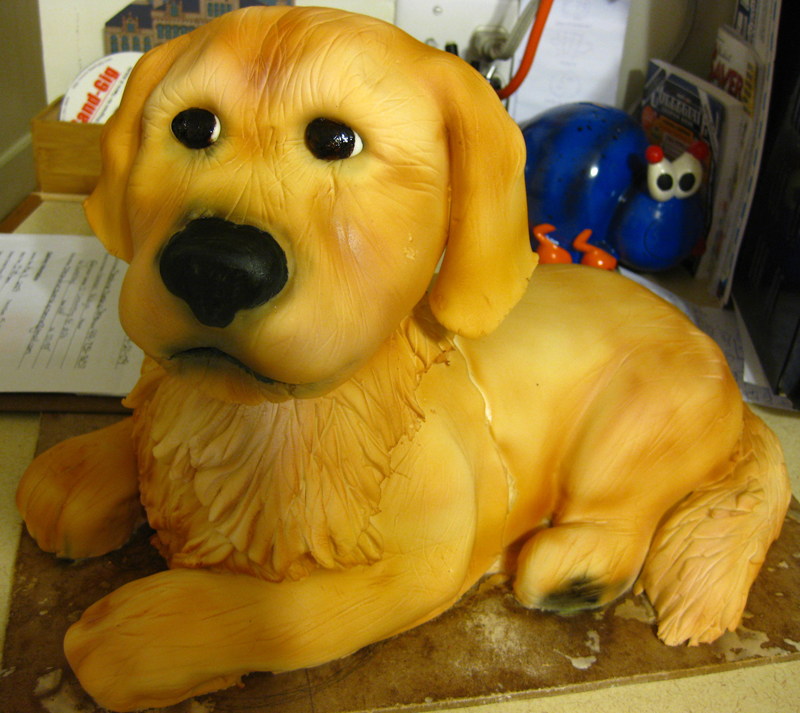 Frosting the Dog Sculpted Cake with Red Sox Jersey