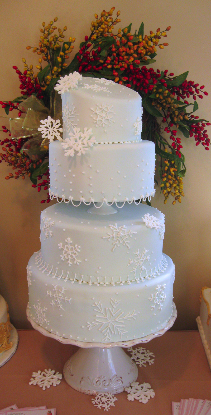 Snow flake winter wedding cake