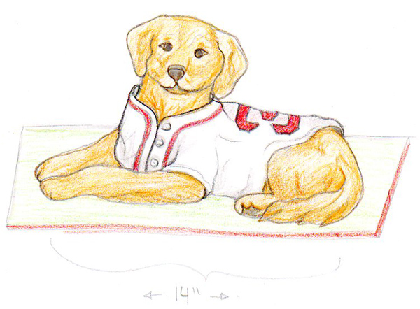 Sketch of Red Sox Dog Cake by Amanda Oakleaf