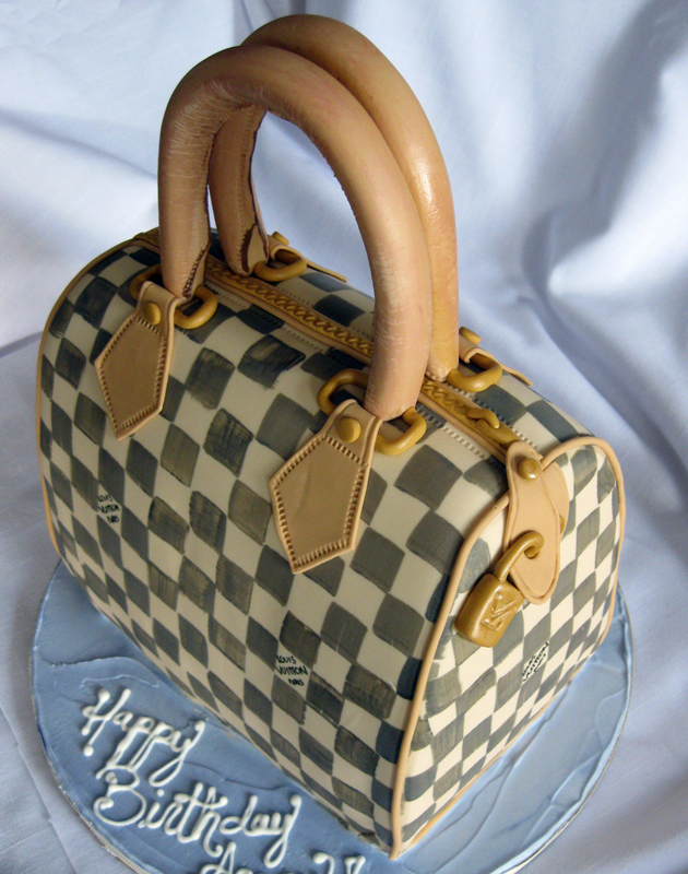 Louis Vuitton Sculpted Checkerboard Purse Cake