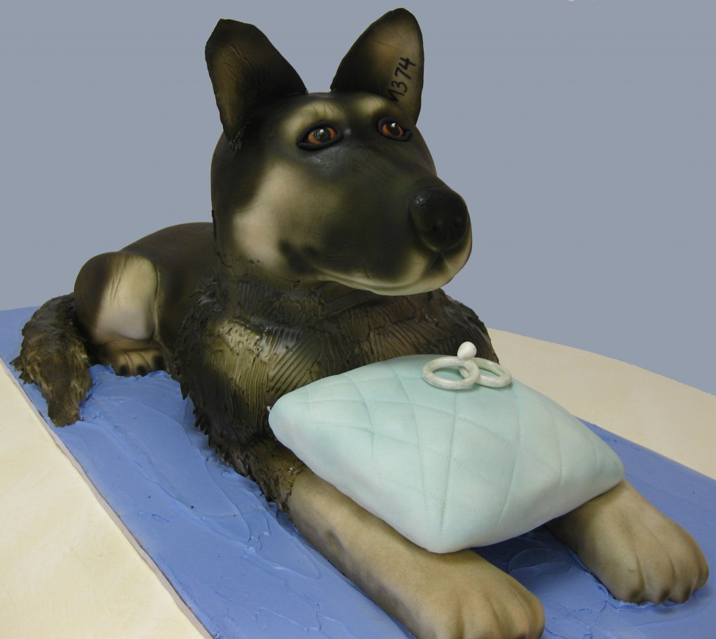 Zorro the dog sculpted cake