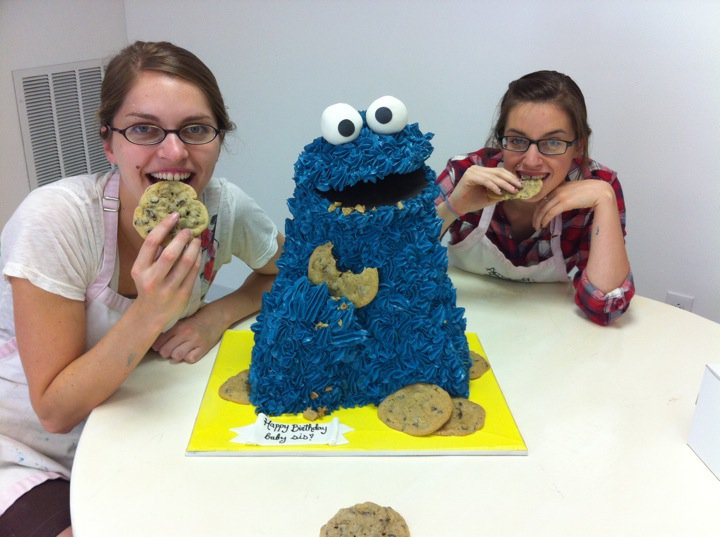 cookie monster cake. We made a Cookie Monster cake