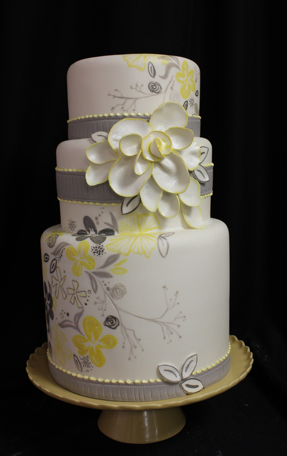 yellow and gray wedding cakes gray a wedding color yes oakleafcakes 27686