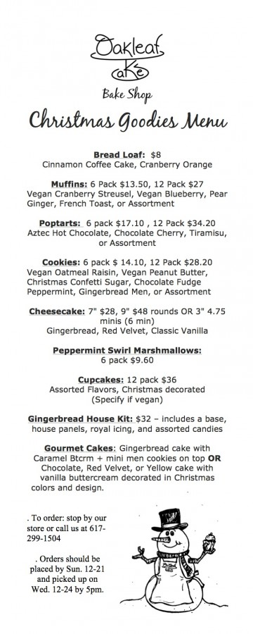 Christmas Goodies menu