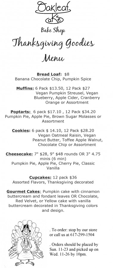 Holiday Goodies Menu
