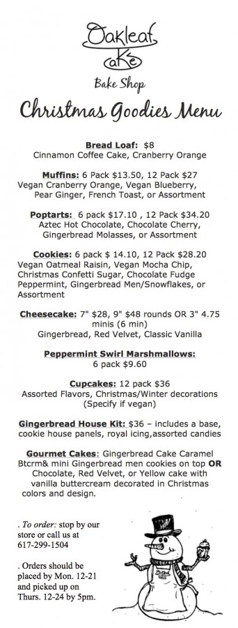 Holiday Christmas Goodies Menu