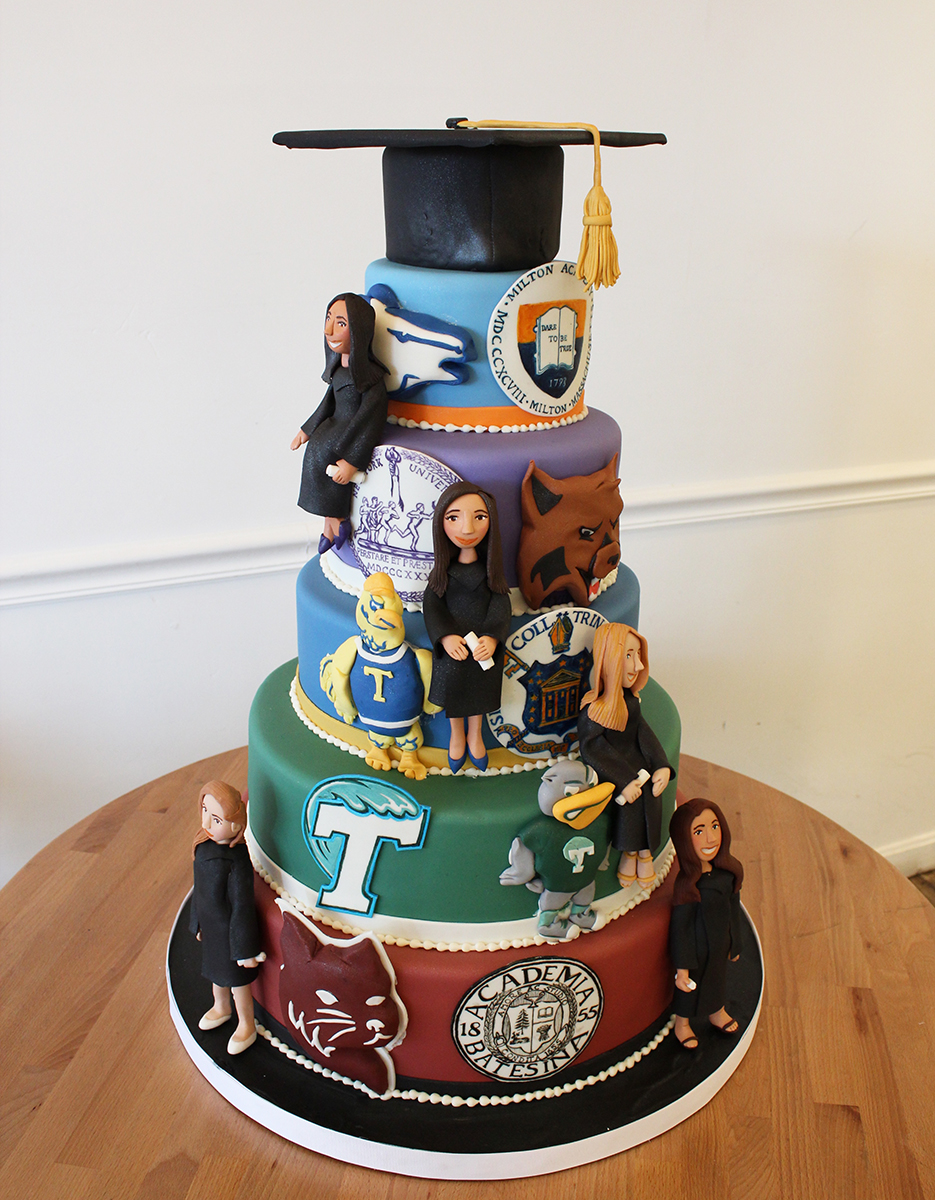 multiple students graduation high school college cake